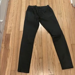 Zara Women Black waxed-finish Jeans